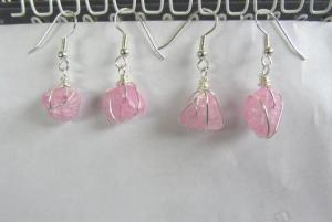 Wrapped cracked glass earrings